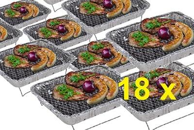 18 x CAMPING WOHNMOBIL OUTDOOR - Grillstation Einmalgrill Einweggrills Edelstahl Grill Holzkohle Tischgrill Klappgrill Gartengrill Picknick NEU Einweggrill SOFORT GRILLEN MIT ZÜNDFOLIE IN 15 MINUTEN BEREIT - SEHR LANGE BRENNDAUER UND GUTE HITZE