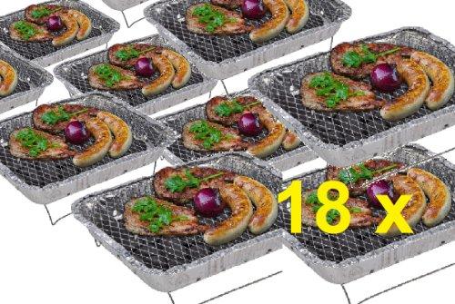 51vIiOqndwL - 18 x CAMPING WOHNMOBIL OUTDOOR - Grillstation Einmalgrill Einweggrills Edelstahl Grill Holzkohle Tischgrill Klappgrill Gartengrill Picknick NEU Einweggrill SOFORT GRILLEN MIT ZÜNDFOLIE IN 15 MINUTEN BEREIT - SEHR LANGE BRENNDAUER UND GUTE HITZE