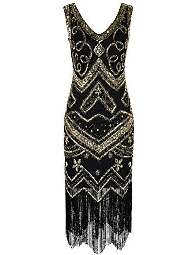 PrettyGuide Damen Flapper Kleid 1920er Gatsby Perlen Pailetten Cocktailkleid S Gold