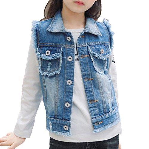 Fille Veste En Jean Coat Blouson Denim Déchiré Boyfriend Style Sans Manches Jeans Veste Bleu 140CM