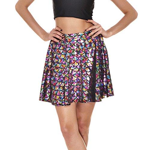 Damen Mini Fischschuppen Rock - Mädchen Mermaid Lässiger Rock Digital Printing Faltenrock Pailletten Cosplay Kostüm S-4XL