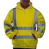 Travail réfléchissants visibilité Sweat-Shirt zippé à Capuche Veste Polaire Taille Sweat Manches Longues Visibilité De SéCuri