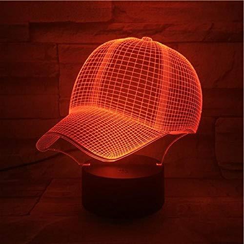 Lampejl Nachtlichter 3D Lampe Baseball Cap Geschenk Für Kinder Atmosphäre 7 Farbe Mit Remote Led Nachtlicht Lampe