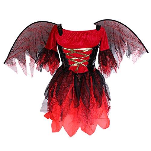 Kostüm Fledermaus Märchen - SM SunniMix Damen Feen Märchen Kostüm Kleid Mit Fledermaus Flügel Für Halloween Karneval Fasching