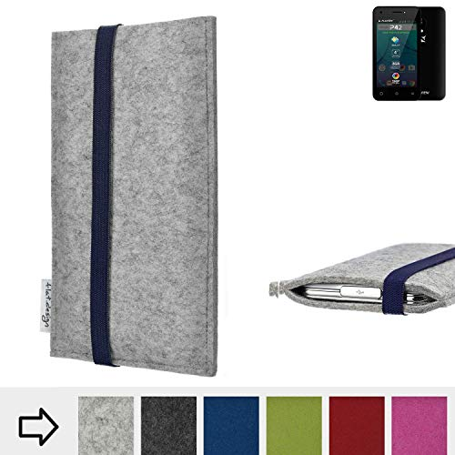 flat.design Handy Hülle Coimbra für Allview P42 - Schutz Case Tasche Filz Made in Germany hellgrau blau