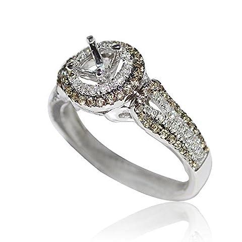 Midwest Bijoux Femme Cognac Halo Bague de Fiançailles de diamant 10mm Large 0.56carat au total pour 0,5carat au total (I/J couleur 0.56carat au total)