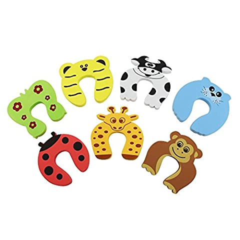 Kbnian Door Stopper, Baby Safety RubberDoor Stop, Finger Protector, Colorful Cute Animal Design Finger Pinch Guard