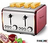 TurboTronic 4 Scheiben Retro Toaster mit Brötchenaufsatz Vintage Design Edelstahl 1500 Watt inklusive Krümelblech
