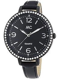 MC Timetrend Damen-Armbanduhr mit Kristallsteinen, schwarzes Zifferblatt und Lederband, Analog Quarz 51297