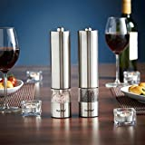 from VonShef VonShef Electric Salt & Pepper Mill Set  Electronic Push Button Operation, Easy Refill & Adjustable Coarseness