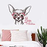Schwarzes glas tragen Chihuahua hundekopf wandaufkleber wohnzimmer schlafzimmer wohnkultur selbstklebende poster möbel fenster aufkleber