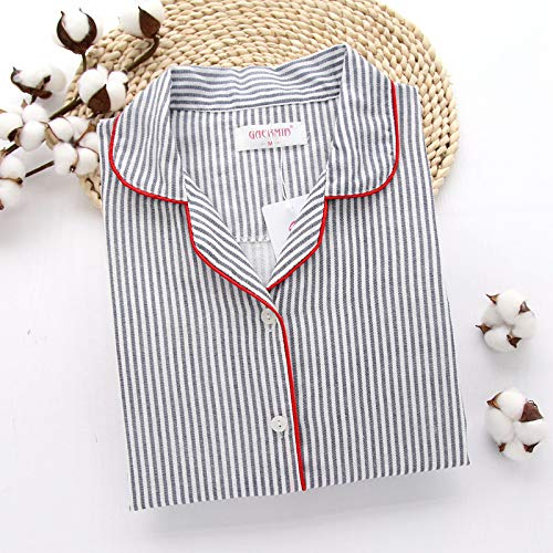 LXFDSY Hause Anzug Frauen Pyjamas Langarm Frauen Baumwolle Nachtwäsche Streifen Pyjamas Weiblichen Beiläufigen Homewear Herbst Winter Frauen Kleidung XL Blau