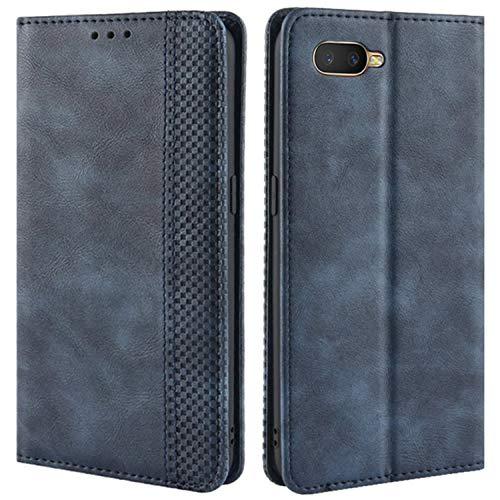 HualuBro Handyhülle für Oppo K1 / Oppo RX17 Neo/Oppo R15X Hülle, Retro Leder Brieftasche Tasche Schutzhülle Handytasche LederHülle Flip Case Cover - Blau