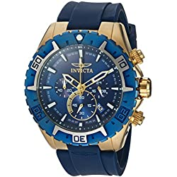 Invicta Men's Aviator Blue Silicone Band Steel Case Flame-Fusion Crystal Quartz Analog Watch 22525
