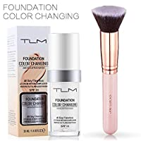 TLM 30ml Flawless Colour Changing Foundation Moisturizing Liquid Cover Concealer & SIGHTLING Make Up Kabuki Foundation Brush Flat Top For Girls and Women
