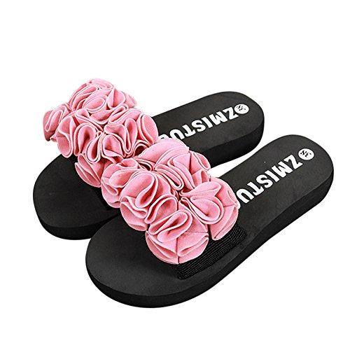 TianWlio Sandalen Damen Sommer Blume Sommer Sandalen Slipper Indoor Outdoor Flip-Flops Strandschuhe Rosa 38