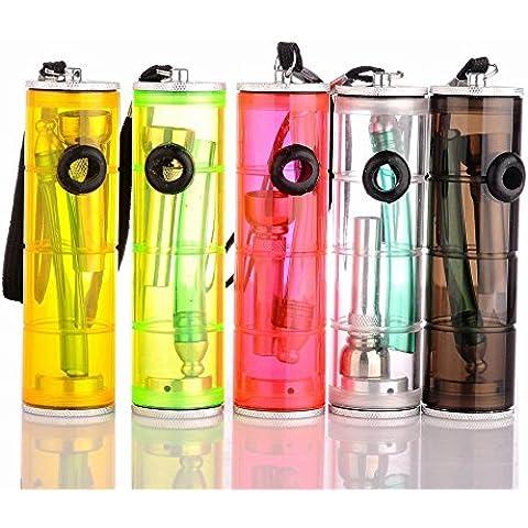 Marcato™ - Mini narghilè con tubicini in plastica, in stile Art Déco, esclusivamente per uso (Corpo Alcool)