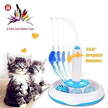 Jouet électronique pour chat jouet interactif et rotatif avec une plume pour activer les sens de votre animal de compagnie, avec 6 plumes de couleur