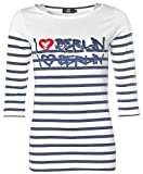 Jette Damen Langarm Shirt T-Shirt Rundhals I LOVE BERLIN Glitzer Weiß 42