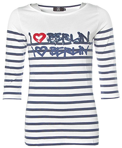 Jette Damen 3/4-Arm Shirt T-Shirt Rundhals I LOVE BERLIN Glitzer Weiß