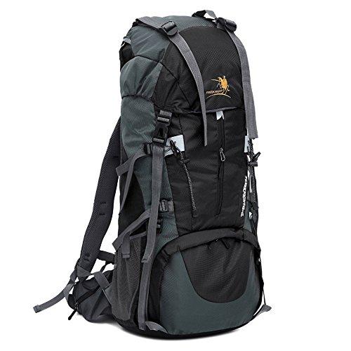 Huntvp Wasserdichter Wanderrucksack Großer Trekking Rucksack Klettertasche für Reise Camping Bergsteigen mit Regenhülle 65L Schwarz