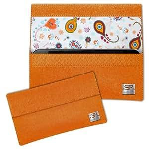 SIMON PIKE Paisley Hülle Handytasche NewYork 10 orange für Apple iPhone 5S 5C 5 aus Filz