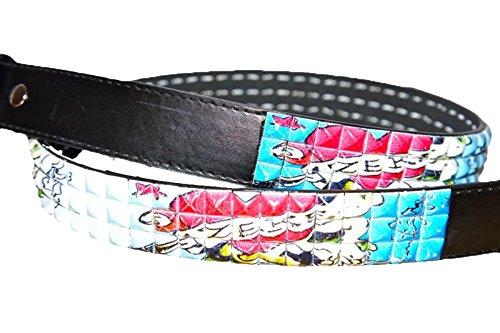 zekke Zeke scatto cintura, Emo Punk Studded 3fila piramide cinturino cuoio bling nero Black L 96,52 cm-107 cm