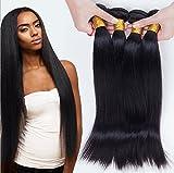 Meylee Postiches Kinky Straight Yaki pour Black femmes noir naturel (longueur de cheveux 8-30 pouces) 3 Bundle/pack 300 grammes totalement , 12 14 16
