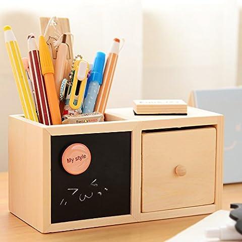 Y & B en bois naturel bureau d'alimentation Boîte/Pot À