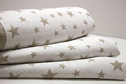 Cubrecama Estrellas Jacquard ESTRELLITAS (180x260 (para cama de 90/105), Beig)