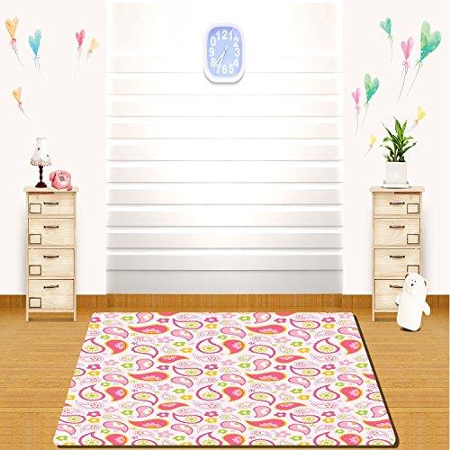 HAIXIA Teppiche Mädchen Paisley Blatt und Daisy Blumen Muster Floral Frühling Mädchen Kinder Zimmer Kinderzimmer Voll Pink Grün, 24inch*35inch (Teppich Floral Paisley)