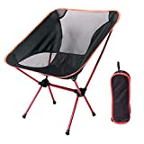 YA-Uzeun Outdoor-Klappstuhl, tragbar, ultraleichte Rückenlehne, Verstärkung, Campingzubehör, Einzelstuhl, Netzstoff, Freizeitstuhl aus Segeltuch rot