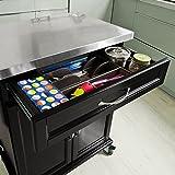 SoBuy® Luxus-Küchenwagen mit Edelstahltop, Küchenschrank, Kücheninsel,Schwarz, B66xT46XH92cm FKW13-SCH - 6