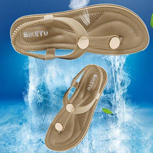 24bab9a8e3e0 Women Sandals ❤ Women Flat Shoes Bead Bohemia Lady Slippe Sandals Rivet  Peep-Toe Outdoor Shoes ❤ Women s Summer Bohemian Beaded Ankle Strap ...