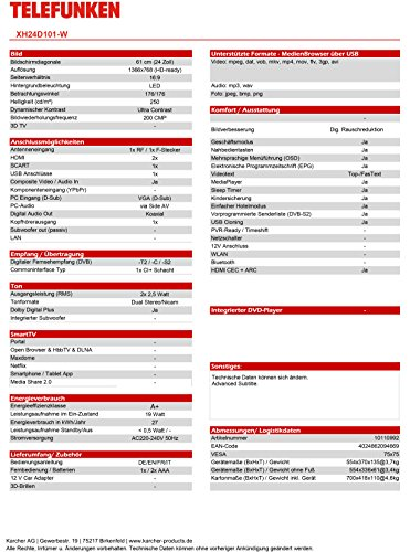 Telefunken XH24D101-W 61 cm (24 Zoll) Fernseher (HD Ready, Triple Tuner) - 3