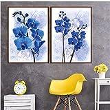 asasI9 Decorazione nordica Home Canvas Art Violet Blue Flowers Pittura Poster e Stampe Quadri modulari per Soggiorno Decor 50x70 (Dimensioni) Senza Cornice