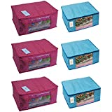 Homestrap Cotton Quilted Large Saree Cover Bag / Wardrobe Organiser - Pink & Blue - Pack Of 6
