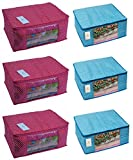 #4: Homestrap Cotton Quilted Large Saree Cover Bag / Wardrobe Organiser - Pink & Blue - Pack Of 6