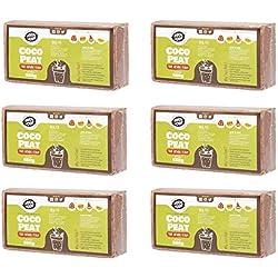 6 X 650g (9L) Fibre de coco pressé   Sans tourbe   100% pure   Substrat de noix de coco pour terrarium   Terre de coco pour Fleurs   Terreau pour fruits, légumes   Aucun additif de fertilisant