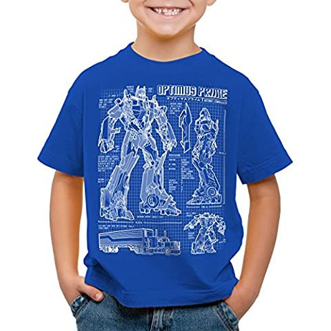 A.N.T. Optimus Prime T-Shirt für Kinder blaupause autobot, Farbe:Blau;Größe:116