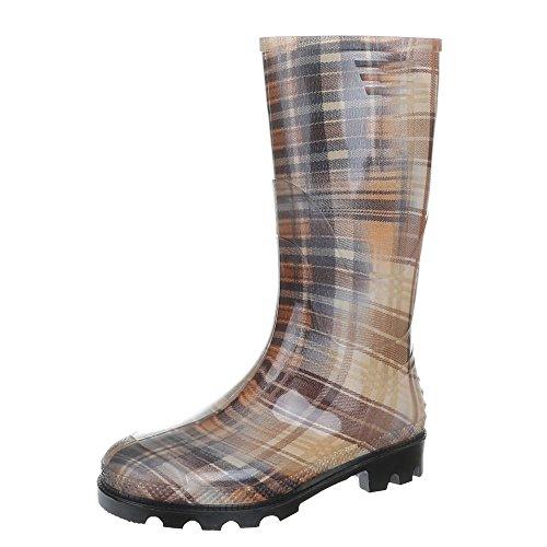 Soldat Kostüm Zurück Winter - Ital-Design Damen Schuhe, GST-F901P, Stiefel, Regenstiefel MIT Muster Gummi, Gummi, Braun Multi, Gr 40
