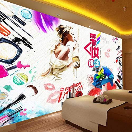 Fototapete Moderne Mode Aquarell Schönheit Make-up Hintergrund Wandmalerei Fototapete 350x256cm