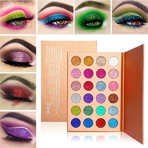 Glitzer Lidschatten Palette Makeup, Afflano Hochpigmentierte Glitter Eyeshadow Palette Shimmer...