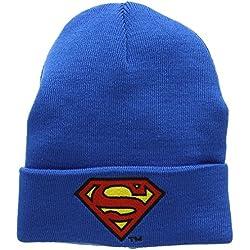 DC Comics - Superman Logo Gorro de punto de invierno para niño - Bordado - Azul - Diseño original con licencia - LOGOSHIRT
