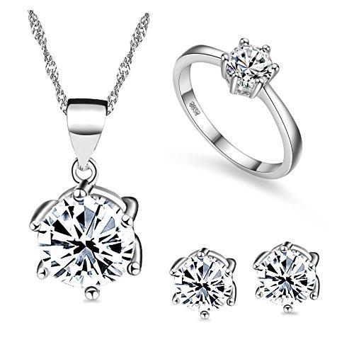 Uloveido Platin beschichtet Hochzeit Schmuck-Set, Damen Ringe und Ohrringe und Halskette Set für Mädchen T043 (Set Ring Platin-diamant-hochzeit)