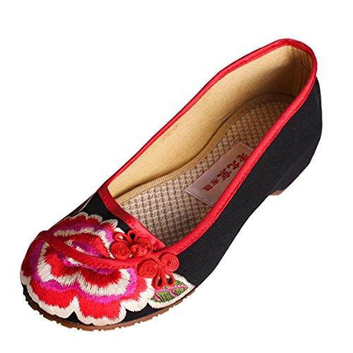 XHX Fein gestickte Schuhe, Leinen, Sehnensohle, ethnischer Stil, weibliche Schuhe, Mode, bequem, erhöhte Segeltuchschuhe , black purple , 39