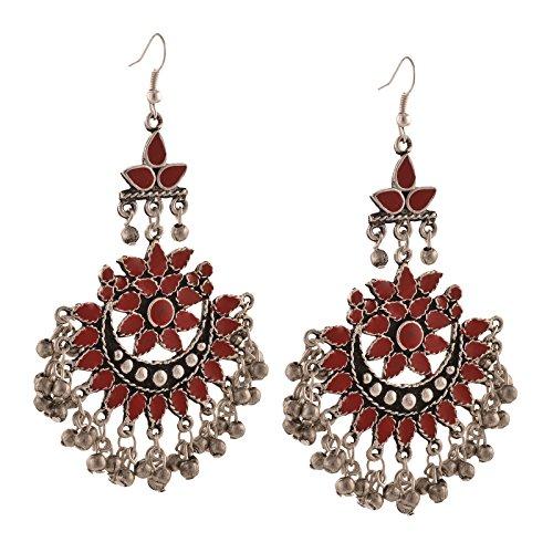 Zephyrr Fashion Oxidized Silver Afghani Tribal Dangler Hook Chandbali Earrings