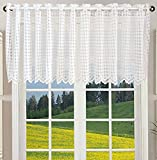 "Cafe Curtain, White Square Lattice Voile Kitchen Net Curtains 59"" x 18"" (150cm x 45cm)"