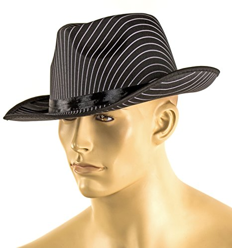 el 14cm Einheitsgröße Gangster-Hut mit Band Erwachsenen-Kostüm Verkleidung Mafia-Boss Fasching Karneval Al Capone Halloween Verbrecher Kauf-Mann ()