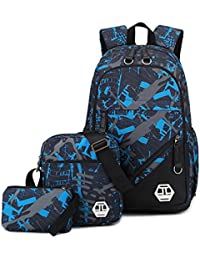 Mioy Tres Piezas Set Adolescentes Mochilas Escolares Lona Estampados Mochila Hombres 15 Pulgadas Ordenador portatil Backpack
